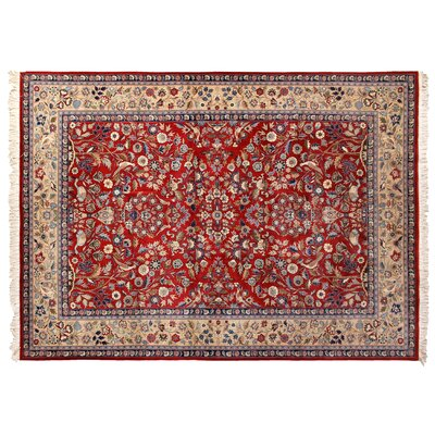 One-of-a-Kind Super Fine Hand-Woven Wool Red/Ivory Area Rug