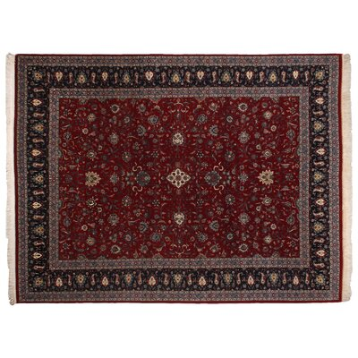 One-of-a-Kind Super Fine Hand-Woven Wool Red/Navy Area Rug