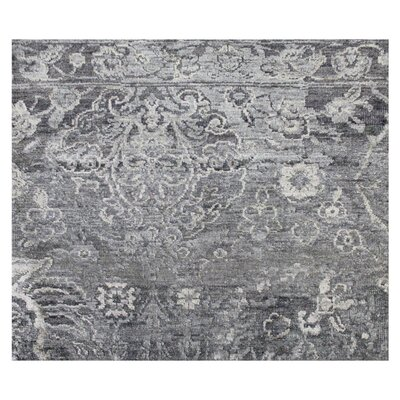 Meena Hand-Knotted Gray Area Rug Rug Size: Rectangle 9 x 12