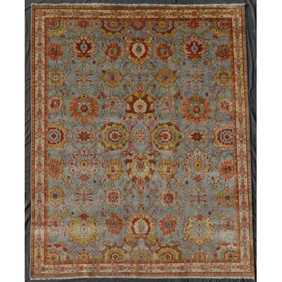 Serapi Hand-Knotted Light Blue/Ivory Area Rug Rug Size: Rectangle 14 x 18