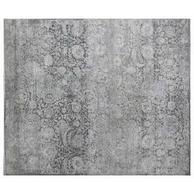 Meena Hand-Knotted Gray Area Rug Rug Size: Rectangle 12 x 15