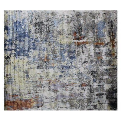 Aurora Hand-Knotted Blue/Gray Area Rug Rug Size: Rectangle 10 x 14