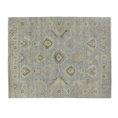 Oushak Hand-Knotted Wool Blue/Gray Area Rug Rug Size: Rectangle 14 x 18