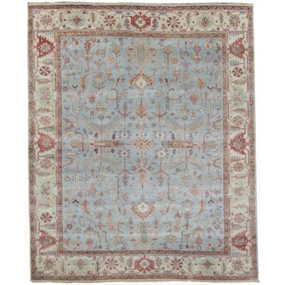 Hand-Knotted Wool Blue Area Rug Rug Size: Rectangle 14 x 18