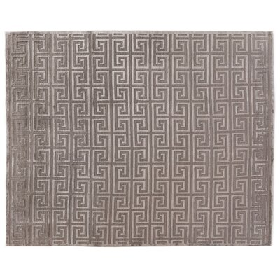 Hand-Knotted Wool Silver Area Rug Rug Size: Rectangle 14 x 18