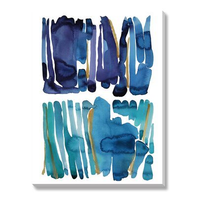 'Blue and Green' Watercolor Paiting Print on Wrapped Canvas
