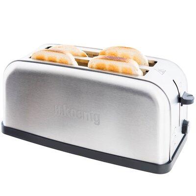 Toaster TOS28 für 4 Scheiben   Küche und Esszimmer > Küchengeräte > Toaster   Silver   Edelstahl   H. Koenig