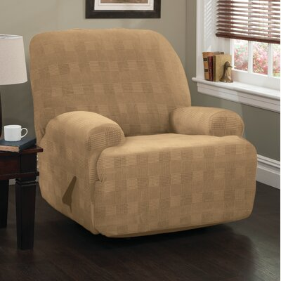 Stretch Plaid Box Cushion Recliner Slipcover with Right Handle Upholstery: Camel