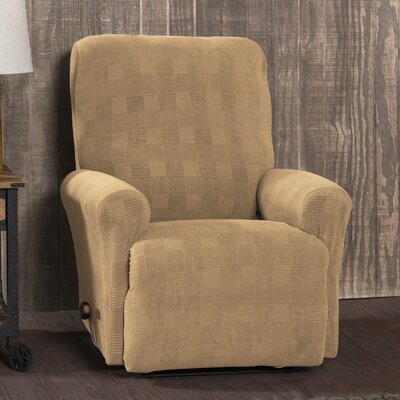 Stretch Plaid Box Cushion Recliner Slipcover Upholstery: Camel