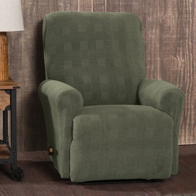 Stretch Plaid Box Cushion Recliner Slipcover Upholstery: Dark Green