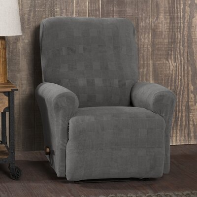 Stretch Plaid Box Cushion Recliner Slipcover Upholstery: Pewter