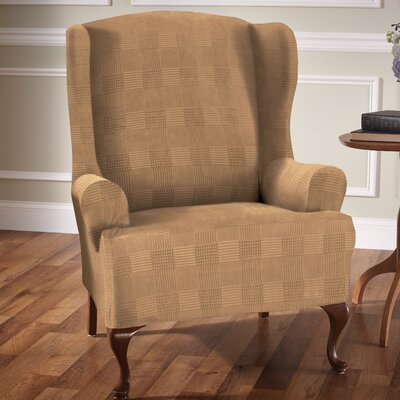 Stretch Plaid Box Cushion Wingback Slipcover Upholstery: Camel
