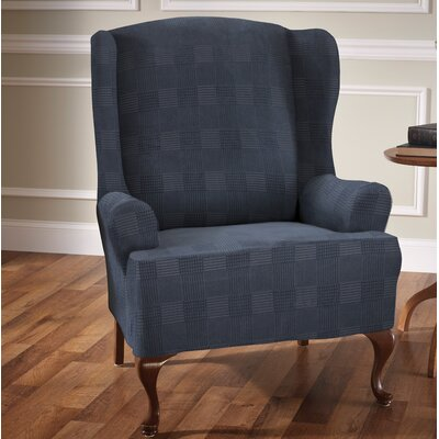Stretch Plaid Box Cushion Wingback Slipcover Upholstery: Storm Blue