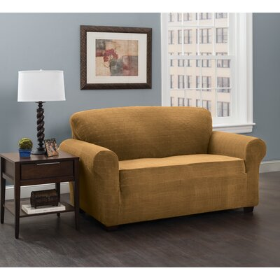 Box Cushion Sofa Slipcover Upholstery: Antique