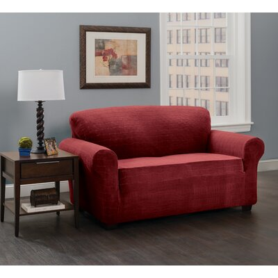Stretch Plaid Box Cushion Loveseat Slipcover Upholstery: Burgundy/Solid