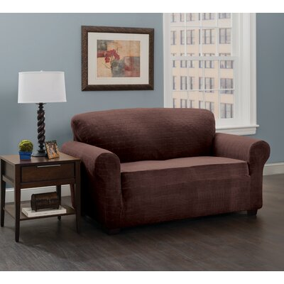 Stretch Plaid Box Cushion Loveseat Slipcover Upholstery: Chocolate/Cheks