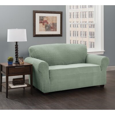 Box Cushion Sofa Slipcover Upholstery: Spa/Solid