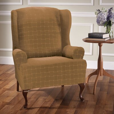Box Cushion Wingback Slipcover Upholstery: Antique
