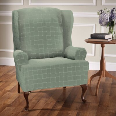 Box Cushion Wingback Slipcover Upholstery: Spa