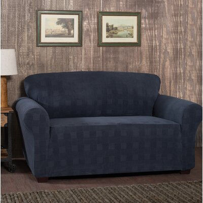 Stretch Plaid Box Cushion Loveseat Slipcover Upholstery: Storm Blue