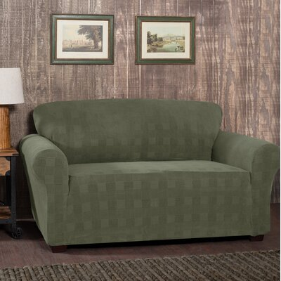 Stretch Plaid Box Cushion Loveseat Slipcover Upholstery: Dark Green