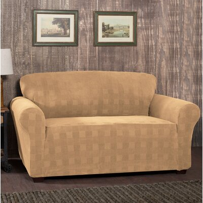 Stretch Plaid Box Cushion Sofa Slipcover Upholstery: Camel