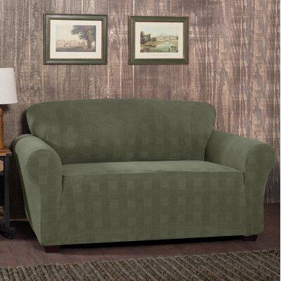 Stretch Plaid Box Cushion Sofa Slipcover Upholstery: Dark Green