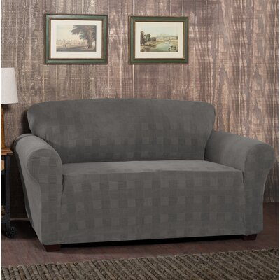 Stretch Plaid Box Cushion Sofa Slipcover Upholstery: Pewter