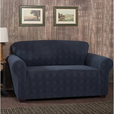 Stretch Plaid Box Cushion Sofa Slipcover Upholstery: Storm Blue