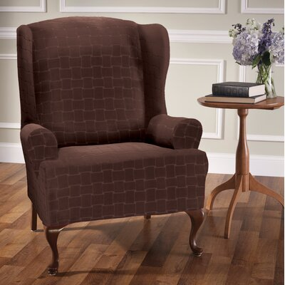 Box Cushion Wingback Slipcover Upholstery: Chocolate