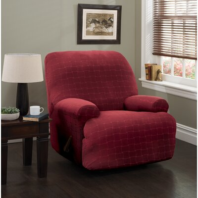 Solid Box Cushion Recliner Slipcover Upholstery: Burgundy/Solid