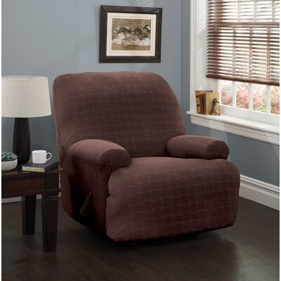 Solid Box Cushion Recliner Slipcover Upholstery: Chocolate