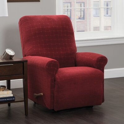 Box Cushion Recliner Slipcover Upholstery: Burgundy/Solid