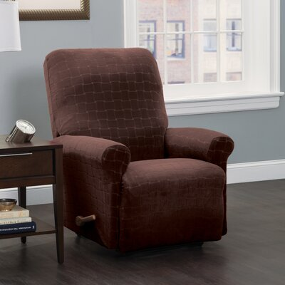 Box Cushion Recliner Slipcover Upholstery: Chocolate/Cheks