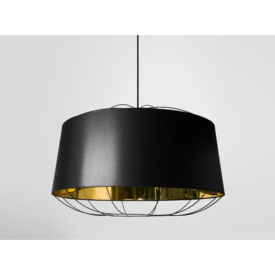 West Harptree Drum Pendant Finish: Black/Gold