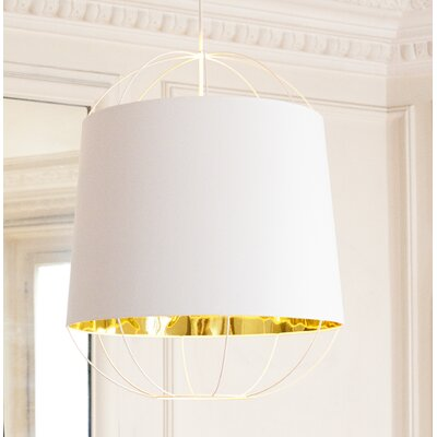 West Harptree Contemporary Drum Pendant Finish: White/Gold