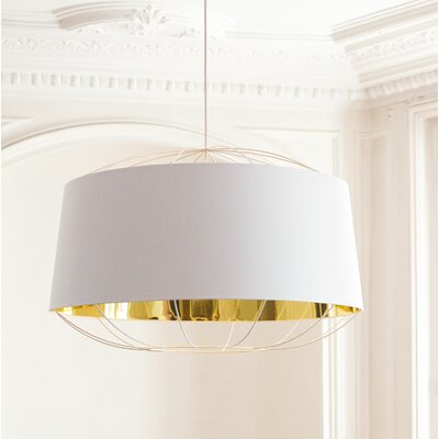 West Harptree Drum Pendant Finish: White/Gold