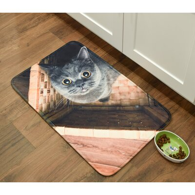 Whimsical Whiskers Ms.Grey Kitchen Mat Mat Size: 26 x 36