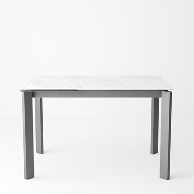 Ripple Extendable Dining Table Color: Calacatta, Size: 29.5 H x 71 W x 31.5 D