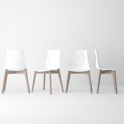 Alya Solid Wood Dining Chair (Set of 2) Color: White, Leg Color: Gray