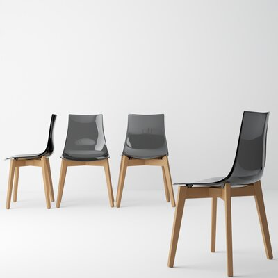 Alya Solid Wood Dining Chair (Set of 2) Color: Smoke, Leg Color: Wood