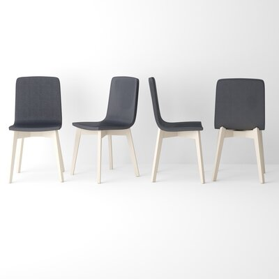 Almondsbury Upholstered Dining Chair (Set of 2) Upholstery Color: Black, Leg Color: Mystic White