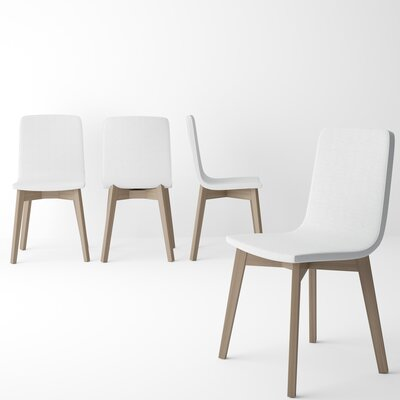Almondsbury Upholstered Dining Chair (Set of 2) Upholstery Color: White, Leg Color: Tinted Truffle