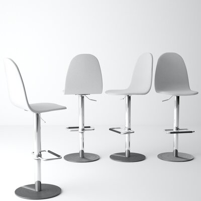 Wendy Adjustable Height Swivel Bar Stool Color: White/Silver