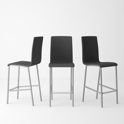 Rippeon 25.5 Bar Stool Upholstery: Mystic Anthracite, Leg Color: Metal Alloy