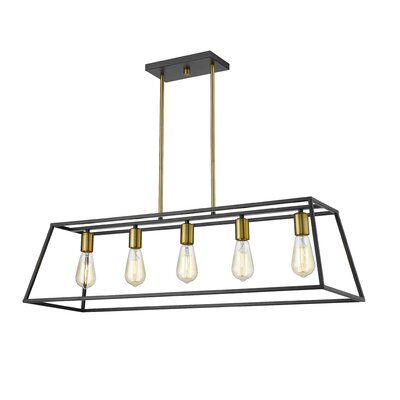 Mullens 5-Light Kitchen Island Pendant Finish: Gold/Black