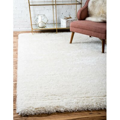 White Area Rug Rug Size: 9 x 12