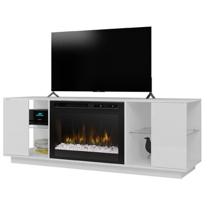 Television Firebox 64.125 TV Stand with Fireplace Color: White, Firebox Type: Acrylic Ice (XHD)