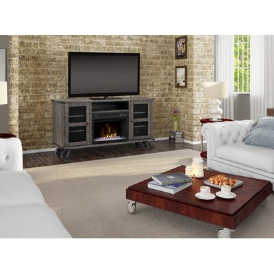 Open Storage Space 66.125 TV Stand with Fireplace Firebox Type: Acrylic Ice