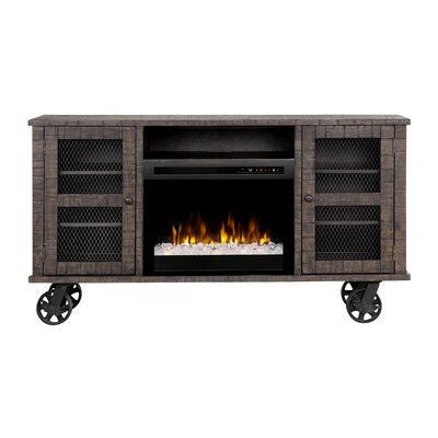 Open Storage Space 66.125 TV Stand with Fireplace Firebox Type: Acrylic Ice (XHD)